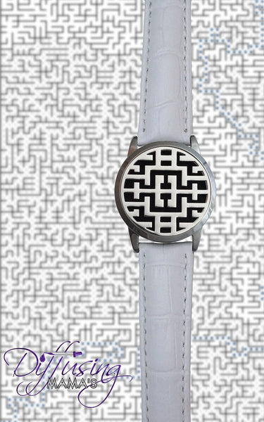 Round Silver Maze (34mm) with Watch Band Aromatherapy / Essential Oils Diffuser Locket Bracelet
