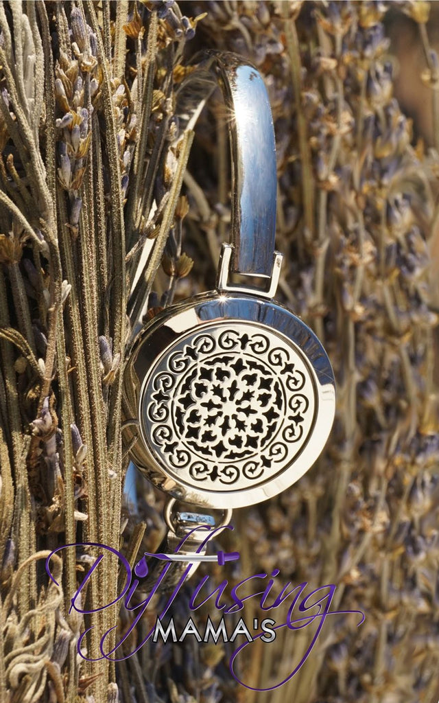 Round Silver Moroccan (25mm) Aromatherapy / Essential Oils Diffuser Locket Bangle Bracelet