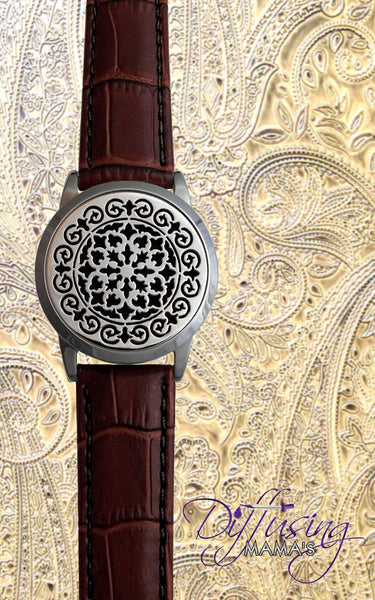 Round Silver Moroccan (34mm) with Watch Band Aromatherapy / Essential Oils Diffuser Locket Bracelet