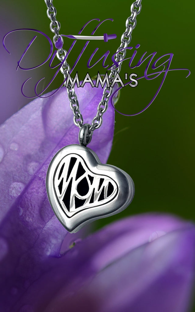 Heart Silver Mom (22mm) Aromatherapy / Essential Oils Diffuser Locket Necklace