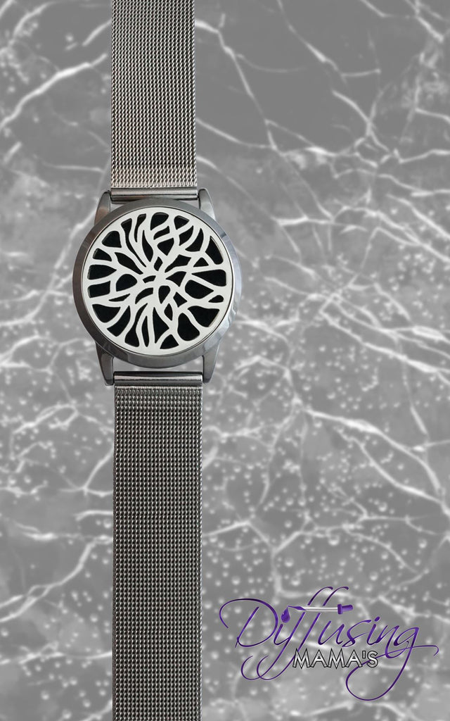 Round Silver Mosaic (34mm) with Watch Band Aromatherapy / Essential Oils Diffuser Locket Bracelet