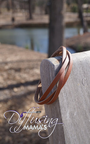Redish Brown Single Braided Genuine Leather with Button Clasp Essential Oils / Aromatherapy Bracelets