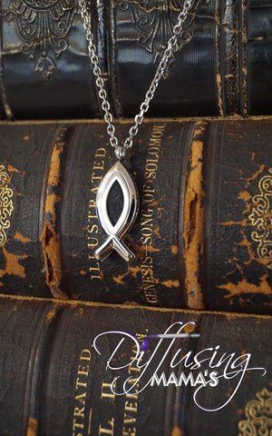 Ichthys Fish Silver Open Design (15x34mm) Aromatherapy / Essential Oils Diffuser Locket Necklace