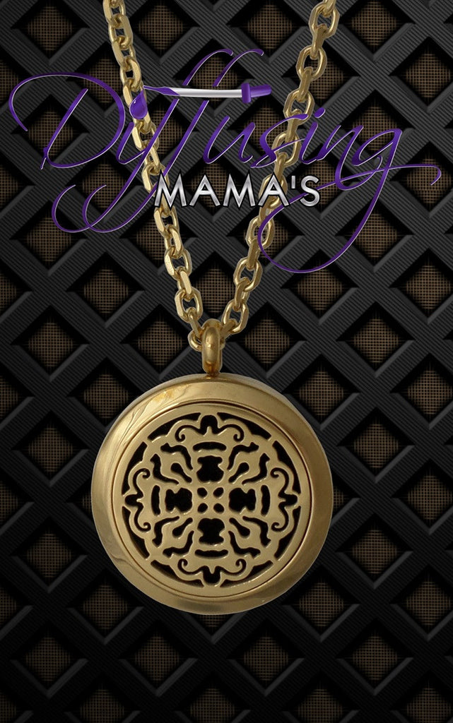 Round Gold Toned Old World Cross (25mm) Aromatherapy / Essential Oils Diffuser Locket Necklace
