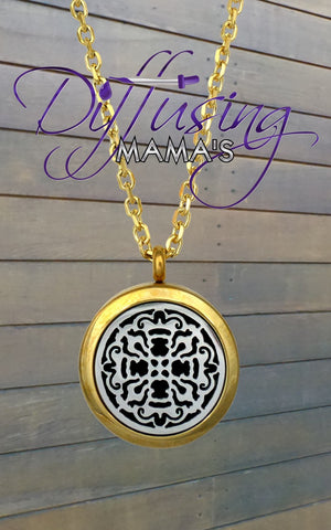 Round 2-Toned Gold & Silver Old World Cross (25mm) Aromatherapy / Essential Oils Diffuser Locket Necklace