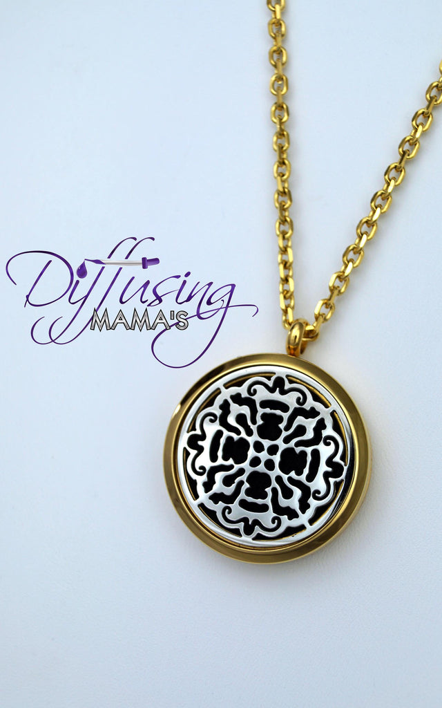 Round 2-Toned Gold & Silver Old World Cross (30mm) Aromatherapy / Essential Oils Diffuser Locket Necklace