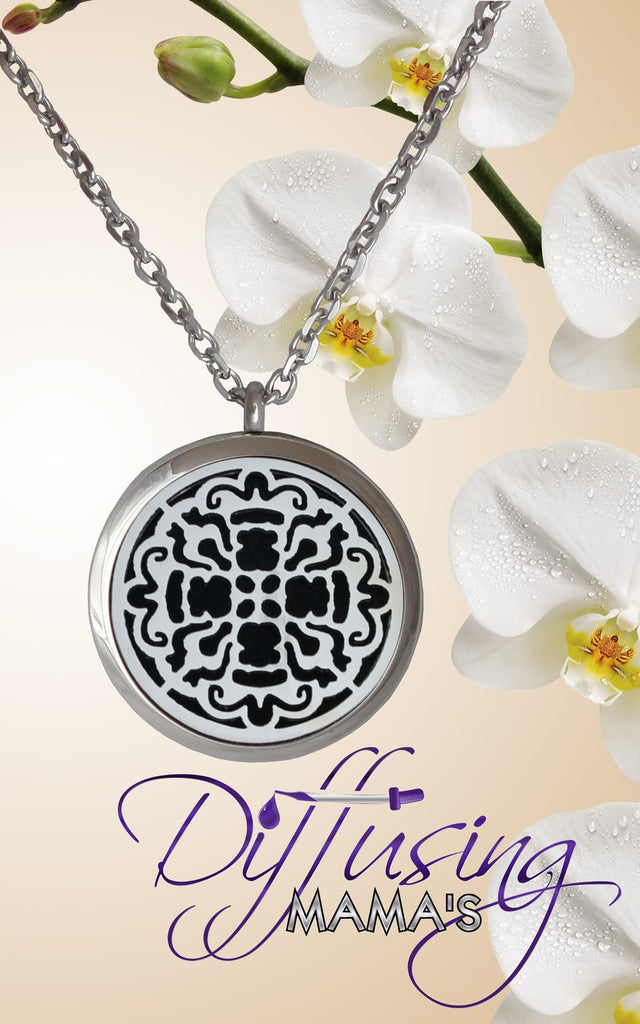 Round Silver Old World Cross (30mm) Aromatherapy / Essential Oils Diffuser Locket Necklace