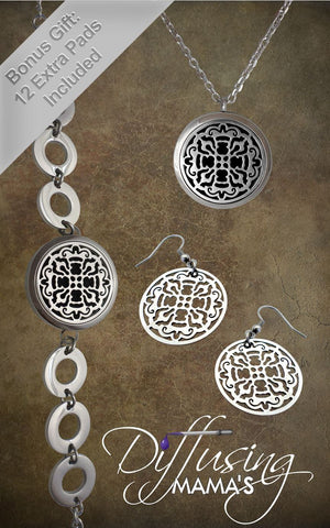 OLD  - Silver Old World Cross Design (30mm) Aromatherapy / Essential Oils Diffuser Locket Necklace & Bracelet with Matching Earrings Bundle