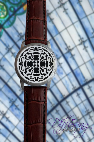 Round Silver Old World Cross (34mm) with Watch Band Aromatherapy / Essential Oils Diffuser Locket Bracelet