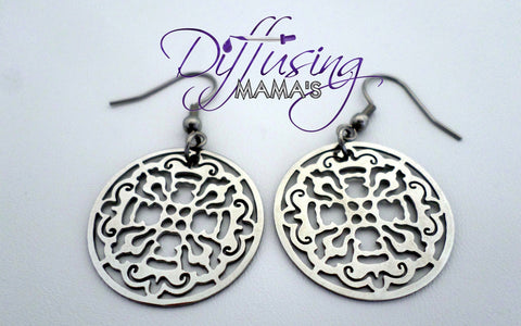 Round Silver Old World Cross Non-Diffusing Earrings