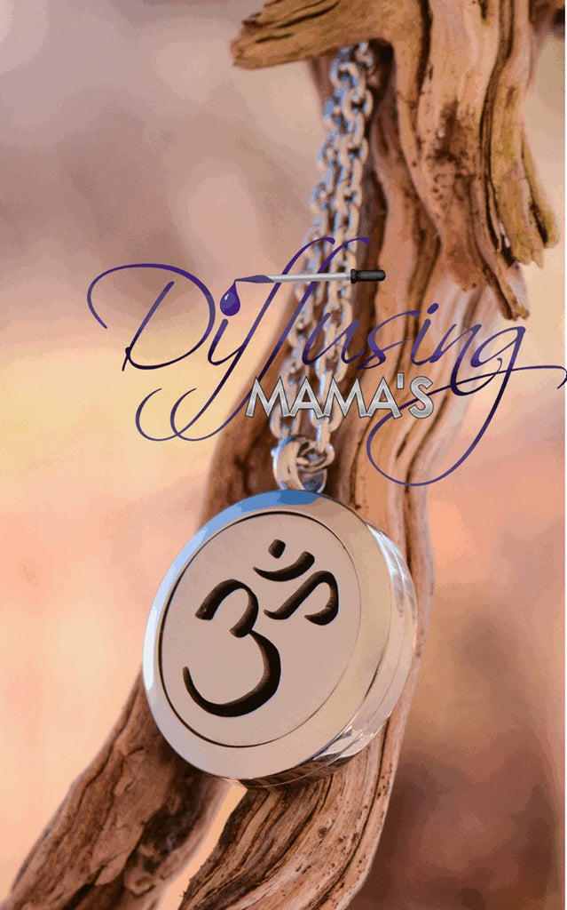 Round Silver Om Mantra (25mm) Aromatherapy / Essential Oils Diffuser Locket Necklace