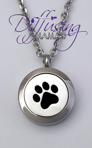 Round Silver Paw (20mm) Aromatherapy / Essential Oils Diffuser Locket Necklace