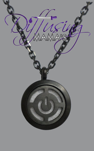 Round Black Toned Power Button (20mm) Aromatherapy / Essential Oils Diffuser Locket Necklace