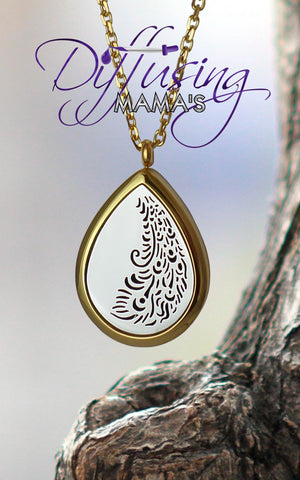 Oil Drop 2-Toned Gold & Silver Peacock Tail (30x40mm) Aromatherapy / Essential Oils Diffuser Locket Necklace