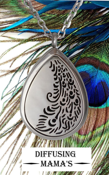 Oil Drop Silver Peacock Tail (30x40mm) Aromatherapy / Essential Oils Diffuser Locket Necklace
