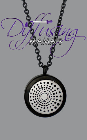 Round 2-Toned Black & Silver Spiral (25mm) Aromatherapy / Essential Oils Diffuser Locket Necklace
