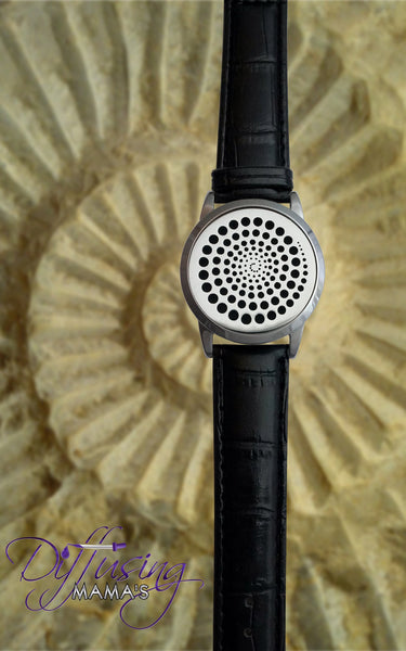 Round Silver Spiral (34mm) with Watch Band Aromatherapy / Essential Oils Diffuser Locket Bracelet