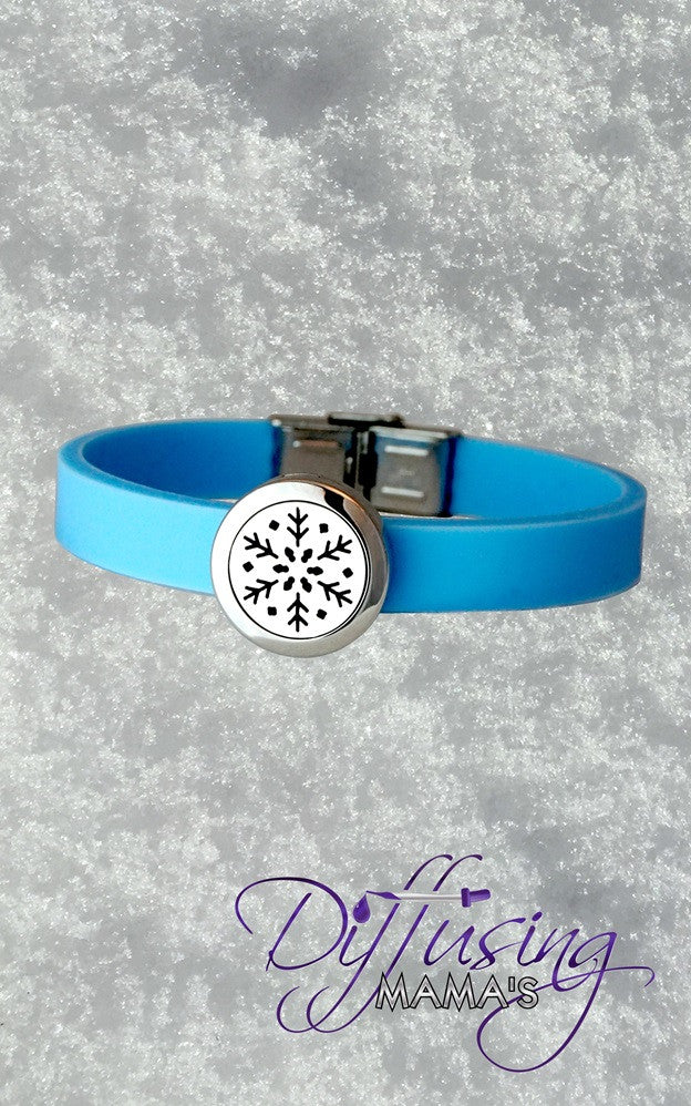 "Round Silver ""Frozen"" Inspired Snowflake (20mm) with Blue Silicone Band Aromatherapy / Essential Oils Diffuser Locket Bracelet"