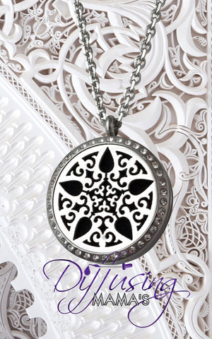 Round Silver Star Burst with Crystals (30mm) Aromatherapy / Essential Oils Diffuser Locket Necklace