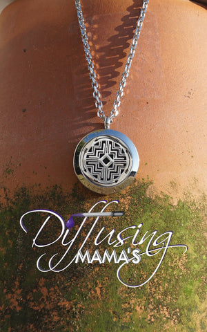 Round Silver Southwestern Design (25mm) Aromatherapy / Essential Oils Diffuser Locket Necklace