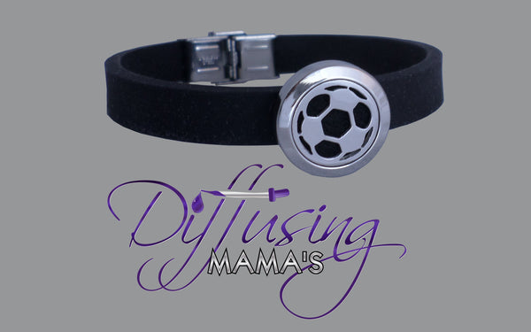 Round Silver Soccer Ball (20mm) with Silicone Band Aromatherapy / Essential Oils Diffuser Locket Bracelet