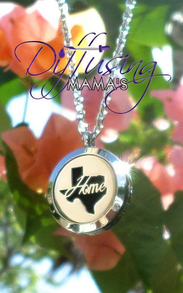 Round Silver Texas Home (25mm) Aromatherapy / Essential Oils Diffuser Locket Necklace