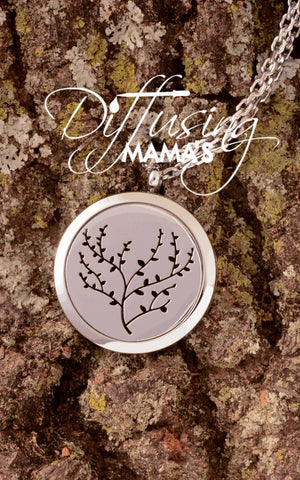 Round Silver Tree of Life (30mm) Aromatherapy / Essential Oils Diffuser Locket Necklace