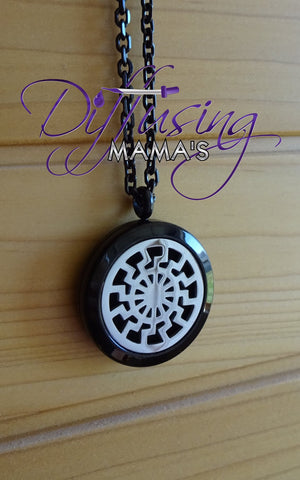 Round 2-Toned Black & Silver Tribal Sun (25mm) Aromatherapy / Essential Oils Diffuser Locket Necklace