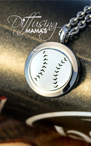 Round Silver Baseball (20mm) Aromatherapy / Essential Oils Diffuser Locket Necklace