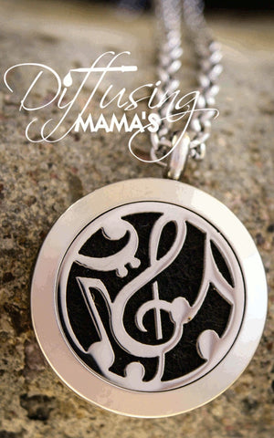Round Silver Music (25mm) Aromatherapy / Essential Oils Diffuser Locket Necklace