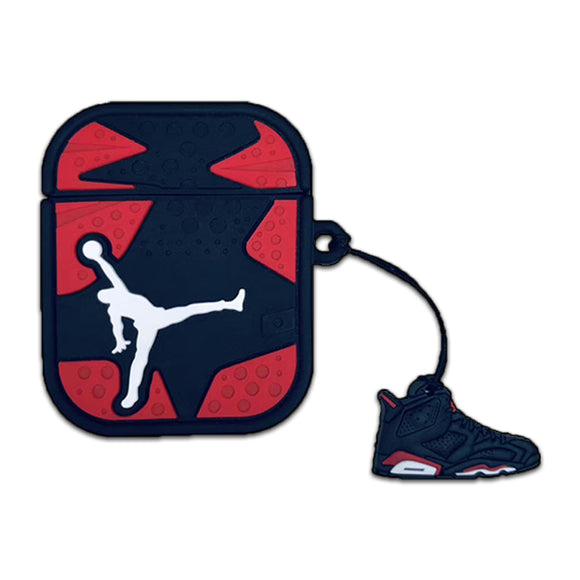 Air Jordan 6 AirPods cases + 2D silicon keychain- Red and Black