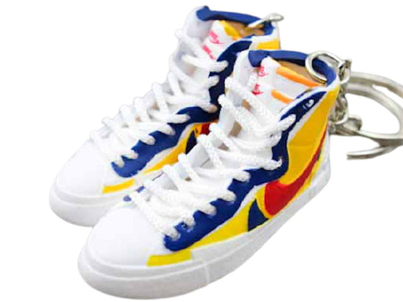 Mini 3D sneaker keychains Nike Blazer x SACAI -  Yellow/Red/Blue