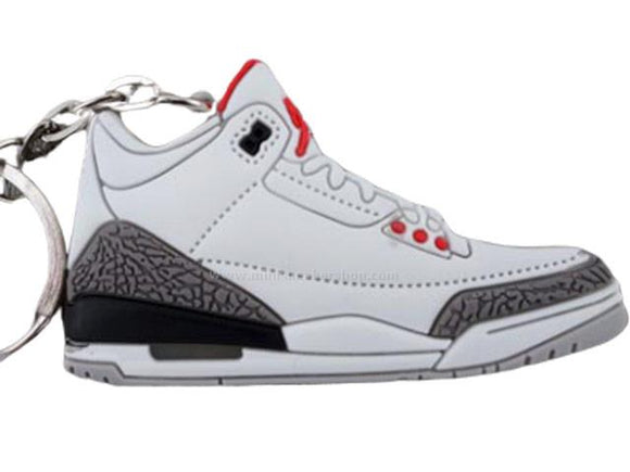 Flat Silicon Jordan 3 keychain - White Cement Grey
