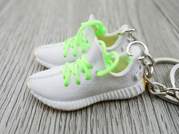 Mini Sneaker Keychains Adidas Yeezy Boost 350 V.2 - SESAME with green laces