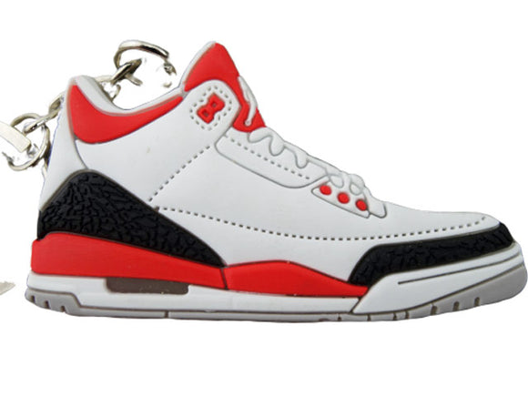 Flat Silicon Jordan 3 keychain -  Fire Red