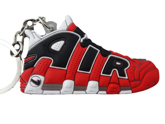 Flat Silicon Sneaker Keychain Nike Uptempo Red Black