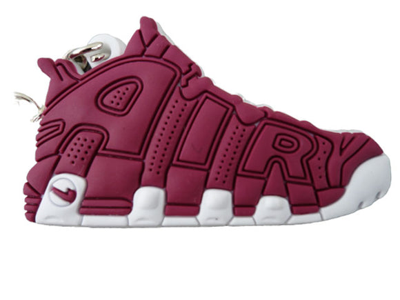 Flat Silicon Sneaker Keychain Nike Uptempo Burgundy