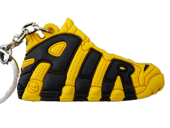 Flat Silicon Sneaker Keychain Nike Uptempo Yellow and Black
