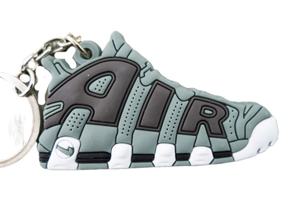 Flat Silicon Sneaker Keychain Nike Uptempo Green and Black