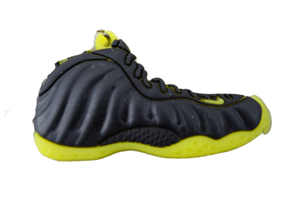 Flat Silicon Sneaker Keychain Foamposite 1 - Black Yellow