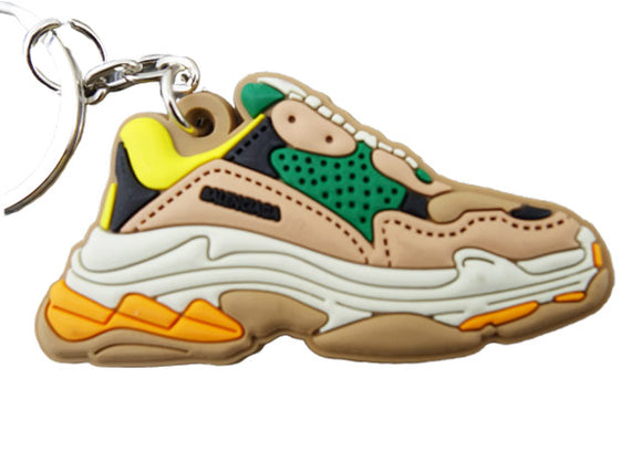 Flat Silicon keychain - Balenciaga triple S inspired - Yellow Beige Green