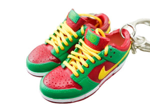 Mini sneaker keychain 3D Dunk - Green Red Yellow