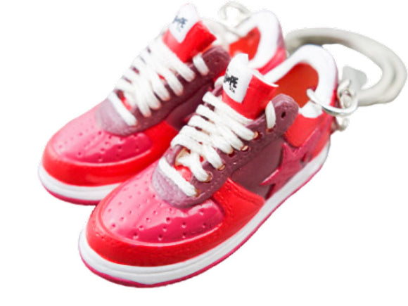 Mini 3D sneaker keychains BAPE - Red