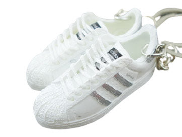 Mini 3D sneaker keychains Adidas White Silver
