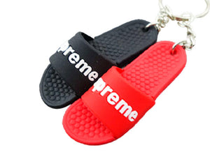 mini 3D sneaker keychains Flip Flops - Sandals - Red and Black
