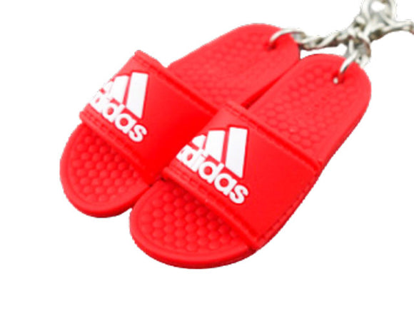 mini 3D sneaker keychains Flip Flops - Adidas Sandals Red