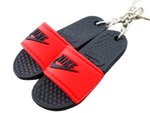 Mini 3D sneaker keychains Flip Flops - Benassi Sandals Black Red Nike