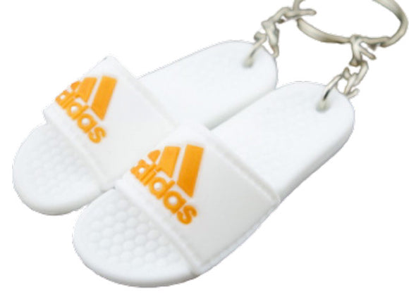 mini 3D sneaker keychains Flip Flops Sandals White and Gold