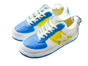 Mini 3D sneaker keychains BAPE - Blue White Yellow