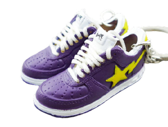 Mini 3D sneaker keychains BAPE - Yellow and Purple - Lakers